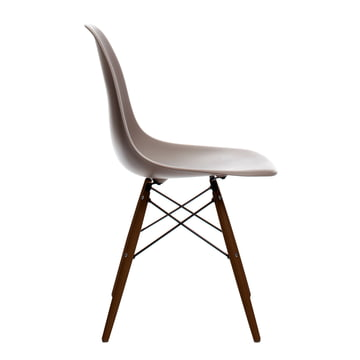 Vitra - Eames Plastic Side Chair DSW, dark maple / mauve grey, felt glides black