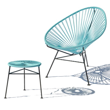 OK Design - Centro Stool, light blue / Acapulco Chair, light blue
