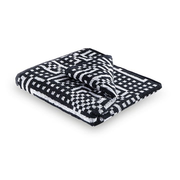Zuzunaga - Route Black and Light Grey Towel, 50 × 100 cm