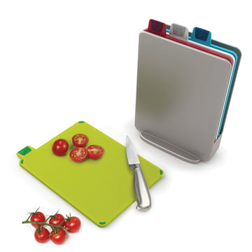 Index Mini Chopping Boards (set of 4) by Joseph Joseph in silver