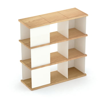 YU set 3 by Konstantin Slawinski made of oiled oak and brushed steel in white