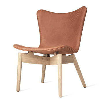 Shell Lounge Chair by Mater made of soaped oak and brown leather