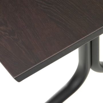 Detailed view of the Belleville dining table's legs for indoor use, rectangular, 200 x 80 cm by Vitra