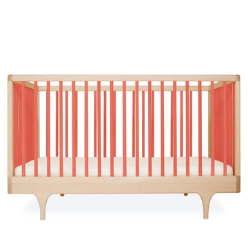 Baby crib Caravan by Kalon made from maple in orange