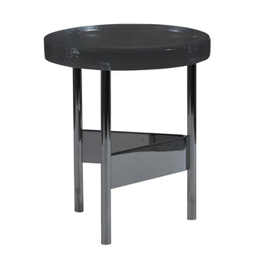 Alwa II Side Table by Pulpo with glass top in grey and chrome-plated base
