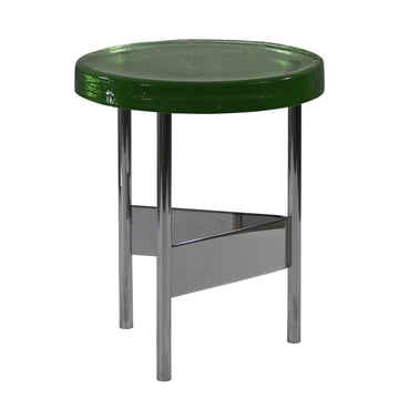 Alwa II Side Table by Pulpo with glass top in green and chrome-plated base