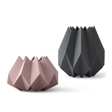The Folded Vases in carbon and rose by Menu