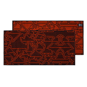 Zuzunaga - Route Black and Red / Orange Towel, 50 × 100cm