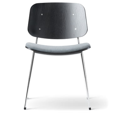 Søborg Chair by Fredericia in black/chrome