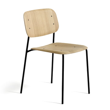The Hay - soft edge chair in oak stained black and frame in steel, powder-coated black