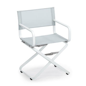 Ahoi armchair by Weishäupl in basic white and Batyline light grey