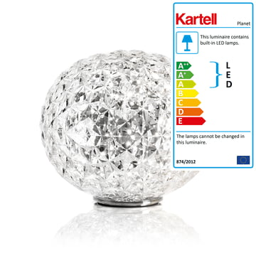 Planet LED Table Lamp with Base by Kartell in Crystal Clear