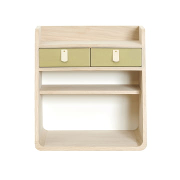 Suzon wall-mounted Storage by Hartô MDF is made of MDF oak with brushed brass.