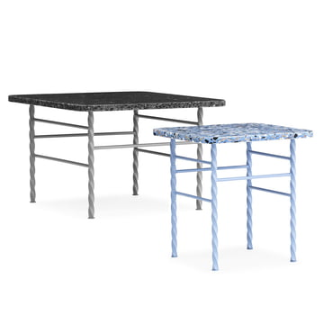 Terra Table large in grey and small in blue from Normann Copenhagen