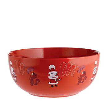 """Get Nuts!"" Fruit Bowl by A di Alessi in Red"