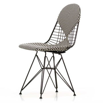 Vitra - Wire Chair DKR-2 Bikini, Hopsak Checker / black frame / felt glides (basic dark)