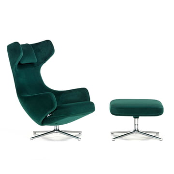 Vitra - Grand Repos & Ottoman, Nobile velour ivy / polished, felt glides (new height)
