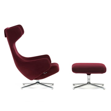 Vitra - Grand Repos & Ottoman, base frame polished, felt glides, Nobile velour, bordeaux