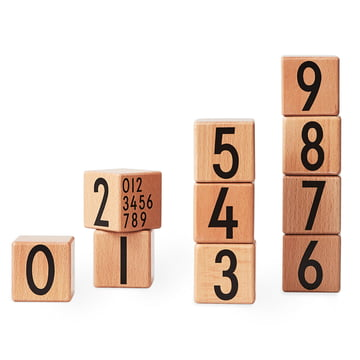 Design Letters - AJ Wooden Number Cubes (set of 10), natural