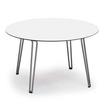 Round Slope Table 90 x 90cm by Weishäupl made of stainless steel in white HPL