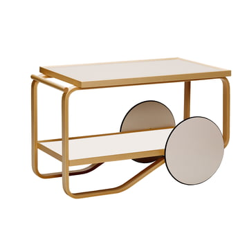 901 Tea Trolley by Artek in Birch / Cream / White (Hella Jongerius Edition)