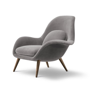 Swoon Armchair by Fredericia in Smoked oak / grey (Harald 3 / 143)