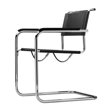 Thonet - S 34 Chair by Thonet with chrome / core black leather / stained black beech armrests (TP 29)