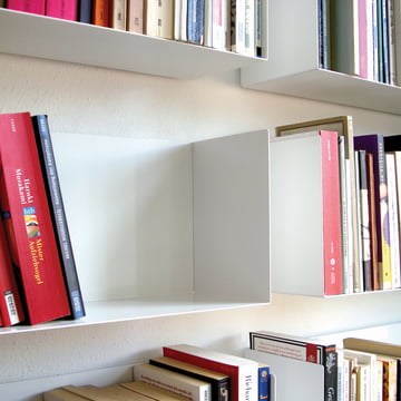 Subtle linea1 a book and DVD shelf in white