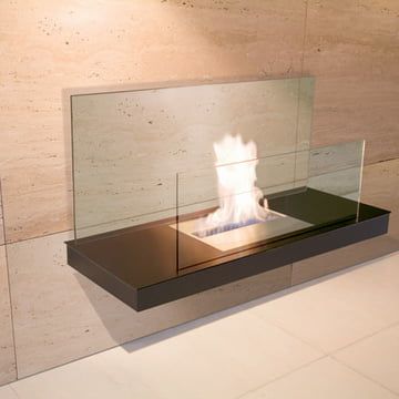 Wallflame II - Steel, black/glass, transparent