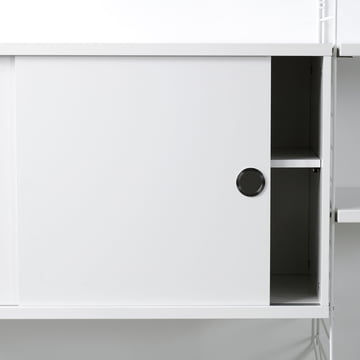 String Shelving System cupboard with sliding doors, white