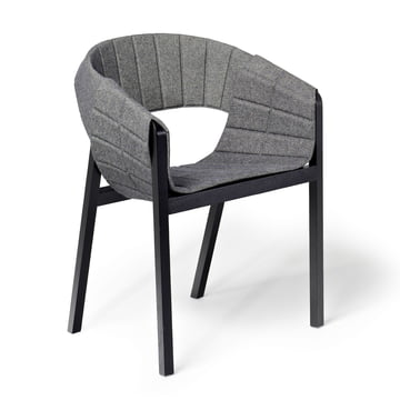 Wogg 42 Lounger, black lacquered ash / light grey Remix