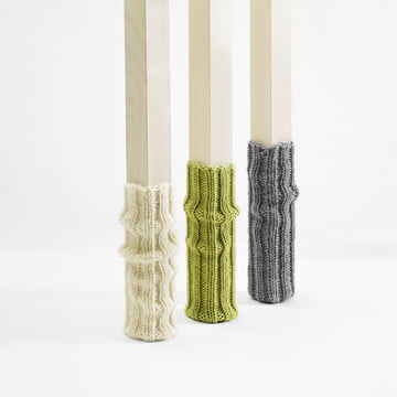 side by side - socks for chair legs, grey, green, creme