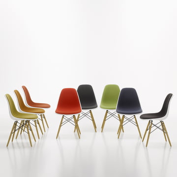 Vitra - Eames Plastic Side Chair DSW, completely upholstered