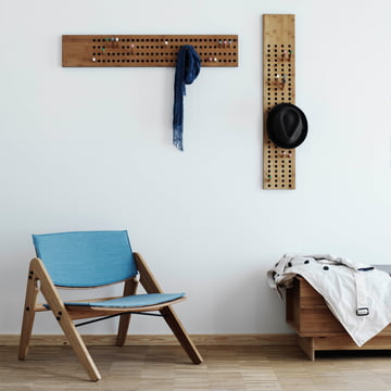 Comfort and Design with the We do wood Scoreboard coat rack, Komplett Lounge Chair and Correlations Bench