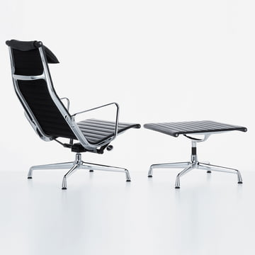 Vitra - Aluminium Group EA 124 + EA 125, black leather