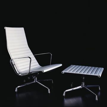 Vitra - Aluminium Group EA 124 + EA 125, white leather