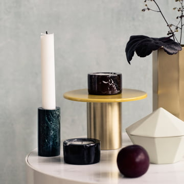 Marble Candleholders decorating a side table