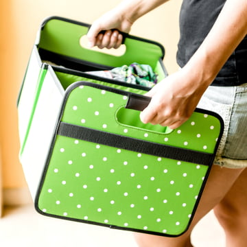 meori - CLASSIC Foldable Box 30 Liter, oxid green dots