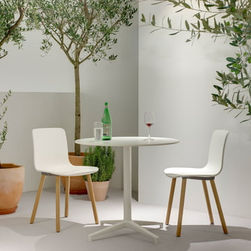 Hal Wood Chair by Vitra made of light oak and with white seat shell