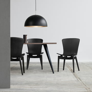 Shell Dining Chair and Shade Pendant Lamp by Mater
