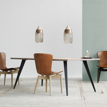 Lignia Dining Table and Shell Dining Chair by Mater