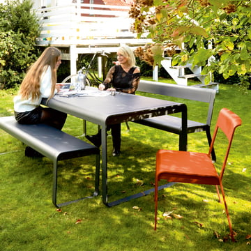 Bellevie chair, bench, table and bench with backrest for outdoor use
