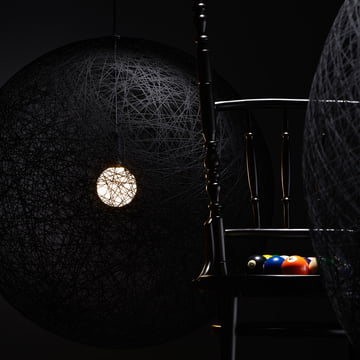 Random pendant lamp with black shade