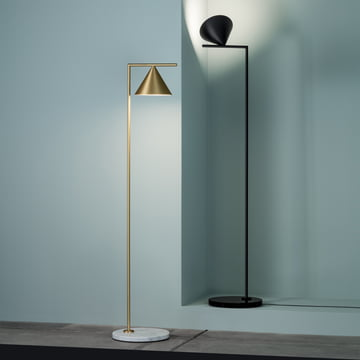 The Captain Flint LED floor lamp by Flos in brass and black