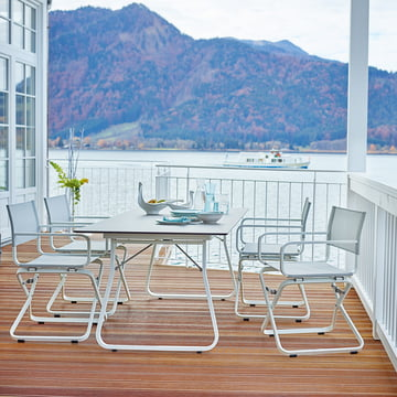 Ahoi table and armchair made from weather-resistant materials