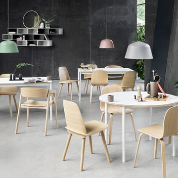 The Ambit pendant lamp, the Nerd chair, the Cover chair, the Visu chair and the Base table by Muuto