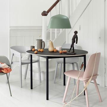 Muuto - Ambit pendant lamp - push coffee maker - push bowl - shades Schalde - nerd chair - cover chair - Visu chair - base table