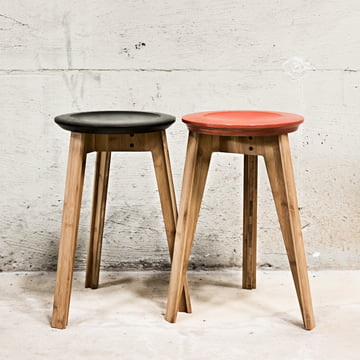 Button Stool in Rust Red and Black