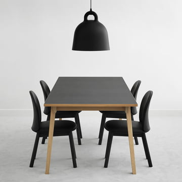 Ace Chair Leather and Slice Table Linoleum with Bell Pendant Lamp