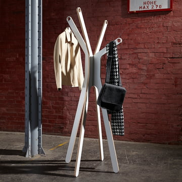 Modern coat stand in white